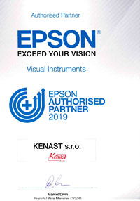 Certifikát EPSON Authorised Partner 2019